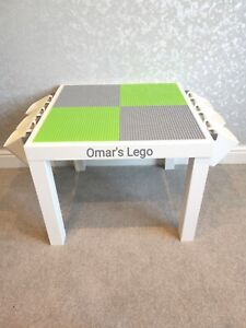 LEGO Table Grey & Green Base Plate Organised Storage Play Set Up Personalised