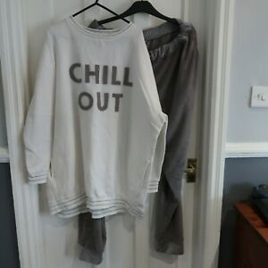 LOVE TO LOUNGE CREAM & GREY CHILL OUT  PYJAMAS / LOUNGE SET SIZE 18/20