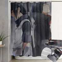 NARUTO0 Uchiha Itachi 4PCS Bathroom Shower Curtain Bath Mat Toilet Lid Cover