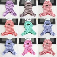 Pet Jumpsuit Autumn Winter Dog Stripe Pajamas Cat Puppy Clothes Teddy Sleepwear