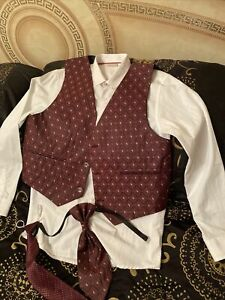 Boys White Signature Shirt NEXT Age 12, Waistcoat, Cravat, Tie