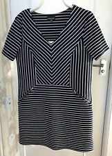 "NEW ""Warehouse"" Dress, Size 16, Blue/White Striped, V Neck, Zip front detail"