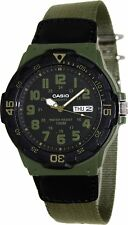 Casio Men's Analogue Nylon Strap Water Resistant Day Date Watch with Black Dial