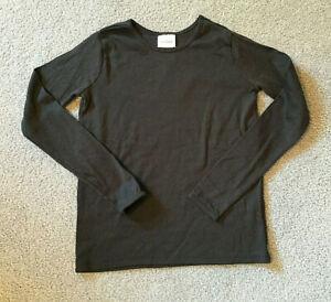 NWT! Girl's HANNA ANDERSSON Bright Basics LS Rib-Knit Tee-Black-150/US 12