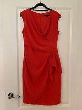 Coast Red Wrap Style Wiggle Work Bodycon Dress Size 10