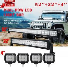 "52Inch PHILIPS LED Light Bar Combo+22inch+4"" PODS OFFROAD SUV 4WD ATV FORD JEEP"