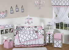 Pink Black White Unique Baby Crib Bedding Set for Newborn Girl Room Sweet Jojo
