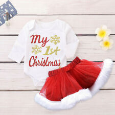 My First Christmas Infant Toddler Baby Girl Letter Romper Tutu Skirt Outfit Sets