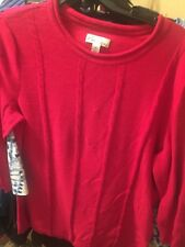 Kim Rogers Pl sweater cable type front  hot pink cotton new w/o tags