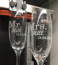 Pair of Mr & Mrs Champagne Flutes - Personalised Wedding Glassware - Name & Date
