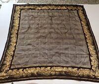 Vintage ECHO Large Square Silk Scarf Brown Checks Gold Border 34 x 34
