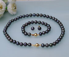 Set 8-9mm black round Freshwater genuine cultured Pearl necklace bracelet earrin