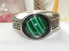 Mens malachite ring green pinky signet stainless steel genuine stone new 1070