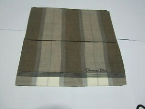 """USED LIGHT BROWN PLAID  PATTERN COTTON 18"""" POCKET SQUARE HANDKERCHIEF FOR MEN #2"""