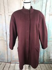 VTG 80's Vuokko Nurmesniemi Maroon Wool Lined Snap Up Coat Women Oversized SM