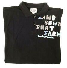 NEW PHAT FARM Deadstock VINTAGE Embroidered Cotton Black Polo Shirt Mens XXL