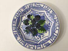 """Gien France Oiseau Blue Garanti Lave-Vaisselle Grape Plate, 6 1/2"""" Diameter"""