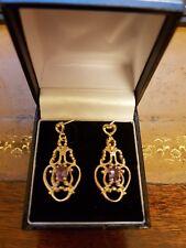 9 ct Vintage Gold Earrings Amethyst