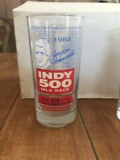 "1983 Indy 500 Race Glass Gordon Johncock 1982 Winner Indianapolis 5.5"" Tall"