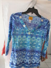 Ruby Rd 3/4 Sleeve Blouse Blue/Green w/Beaded Neckline Size S