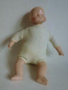 "Vintage Baby Sleeping Doll Ceramic Head Hands Legs Cloth Body 8.5"""