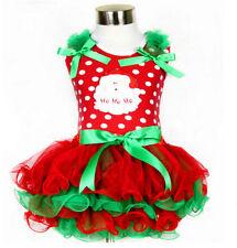 2017 Cute Baby Kid Girls Christmas Candy Santa Lace Tutu Dress Skirt 2 styles