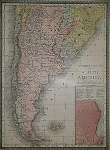 Old Authentic Antique 1881 Map ~ ARGENTINE REPUBLIC - CHILE - URUGUAY - PARAGUAY