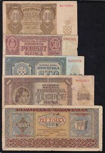 CROATIA --- WW2 --- LOT -- 10, 50, 100, 1000, 5000  KUNA  1941-1943 --- VG/F ---