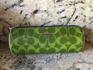 Coach Makeup Brush Holder Travel Pencil Zip Case Leather Green/lime