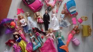 35+ TOYS GIRL BUNDLE DOLLS CAR CLOTHES FURNITURE MERMAID ELSA ANNA FROZEN