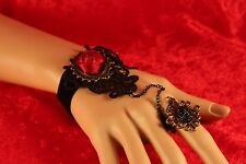 Steampunk Black Velvet & Satin Rose Slave Bracelet W/Attached Adj. Ring