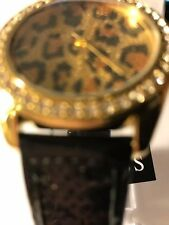 New Authentic GUESS Watch, Women Animal Print Dial Black  Sequins Strap W951071