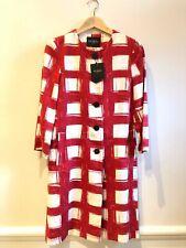 Hobbs Linen Red and White Dress Coat UK 8