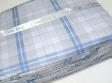 Torrey Lane 200 TC Cotton Rich Blend Percale Pale Blue Gray Plaid King Sheet Set