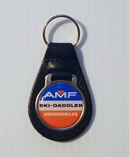 Reproduction Amf Ski Daddler Snowmobile Logo Stripes Leather Keychain (051)