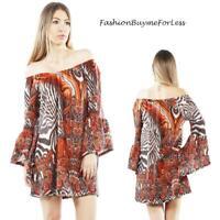 BOHO Gypsy On Off Shoulder Hippie Bell Sleeve FLEECE Sweater Tunic Top S M L XL