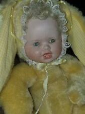 "Bunny Doll15""Yellow soft/ porcelain face Jointed Body green eyes~1985"