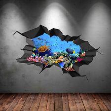 Couleur Complète 3D Aquarium Mer Poisson de Cave Fissuré Autocollant Art Mur