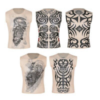 Women Mens Fake Tattoo Muscle Bodybuilding Sleeveless Shirt Tank Top Gym Singlet