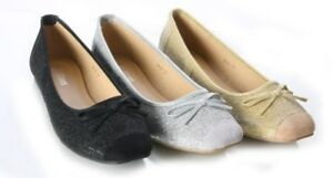 WOMENS LADIES FLAT SQUARE TOE GLITTER BALLERINA PARTY WORK SHOES SIZES 3-8