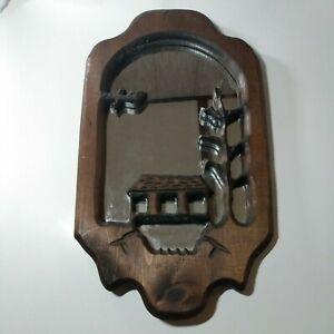 Handcarved  Wood Wall Hanging Mirror Frame Oriental Temple Bird Home Decor