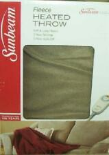 "SUNBEAM TAN FLEECE ELECTRIC HEATED THROW BLANKET 50"" X 60"" 3 HEAT SETTINGS NEW"