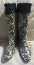 NEW CARLOS FALCHI GRAY SILVER LEATHER PYTHON WOMEN'S  BOOTS ITALY SZ 38.5=8.5