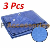 3 Pcs 6 x 4' FT Heavy Duty Water Resistant Reinforced Cover Blue Tarp w/ Grommet