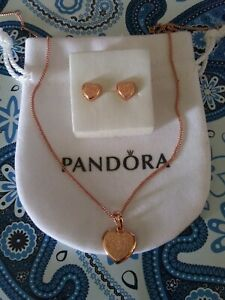 Authentic Pandora Rose Heart Necklace and Earrings Gift Set