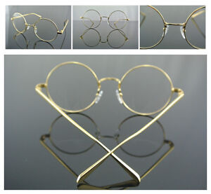 50mm Vintage Round Eyeglass Frame GOLD Clear Lens Full-Rim Glasses RX Optical