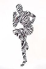 Lycra Ganzanzug Catsuit mit abnehmbarer Haube zebra