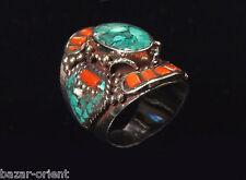 Traditioneller Tibetischer Türkis Ring tibetan turquoise ring neusilber  Nr.27
