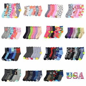 3 6 12 Pairs Lot Kids Crew Ankle Socks Toddler Boy Girl Casual 0-12 2-3 4-6 6-8