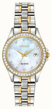CITIZEN LADIES WATCH MOP DIAL TWO TONE CRYSTAL ECO-DRIVE EW1844-50Y  28MM SEALED